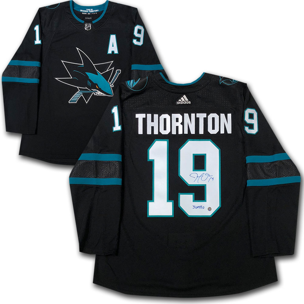 Joe Thornton Autographed San Jose Sharks adidas Pro Jersey w/JUMBO Inscription
