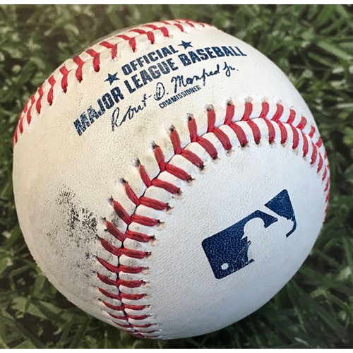Photo of Game-Used Baseball KC@MIL 09/20/20 - Brad Keller - Daniel Vogelbach: 2-Run HR (4)