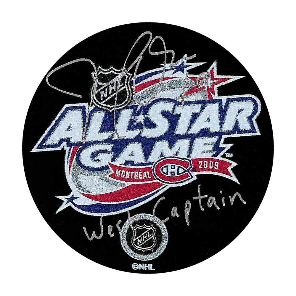 Joe Thornton Autographed 2009 NHL All-Star Game Puck w/WEST CAPTAIN Inscription