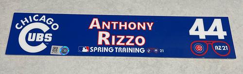 Photo of Anthony Rizzo 2021 Spring Training Locker Nameplate