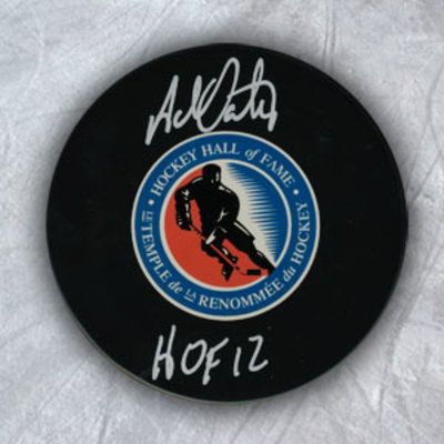 ADAM OATES Autographed Hockey Hall of Fame Puck