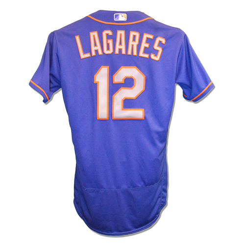 Juan Lagares #12 - Game Used Blue Alt. Road Jersey - Mets vs. Phillies - 10/1/17