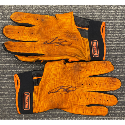 Photo of Autographed Team Issued Batting Gloves Autographed by #53 Austin Slater
