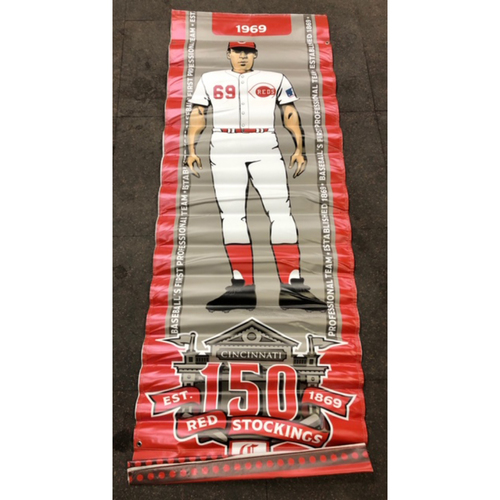 Photo of Reds 1969 Throwback Uniform Banner From Downtown Cincinnati & Great American Ball Park
