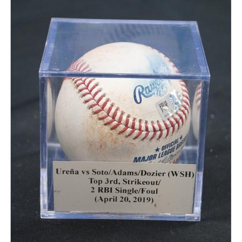 Photo of Game-Used Baseball: Jose Ureña vs Juan Soto/Matt Adams/Brian Dozier (WSH), Top 3rd, Strikeout/2 RBI Single/Foul (April 20, 2019)