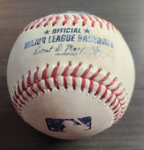 Photo of Authenticated Game Used Baseball: Foul by Gleyber Torres against Wilmer Font (Sep 22, 2020 vs NYY). Top 9. Game played in Buffalo.