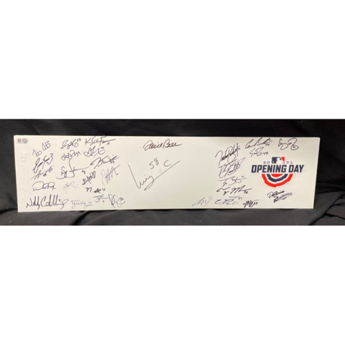 Photo of Team-Signed -- 2021 Opening Day Commemorative Pitching Rubber (MLB Authentication not Provided for Autographs; Reds COA Provided for Signatures)