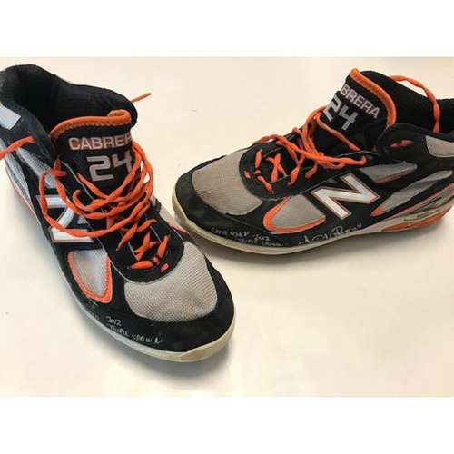 Photo of Autographed and Inscribed Miguel Cabrera Baseballs Cleats