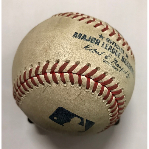 Photo of Brandon Belt Game-Used Hit Single Ball - May 6, 2018