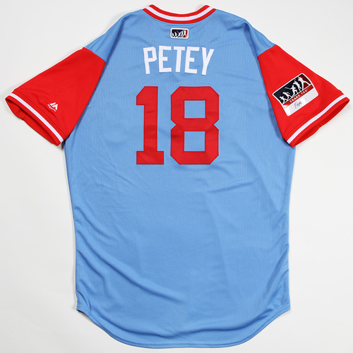 "Photo of Drew ""Petey"" Robinson Texas Rangers Game-Used 2018 Players' Weekend Jersey"