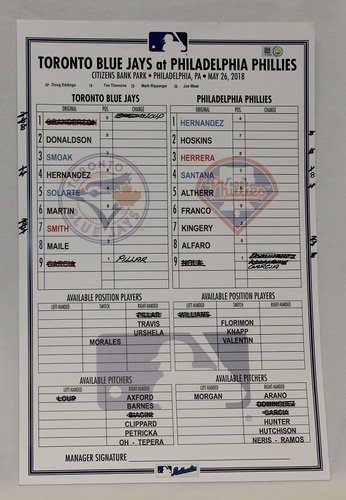 Photo of Authenticated Game Used Lineup Card - May 26, 2018 vs Philadelphia Phillies: Aaron Nola had 10 Ks and only gave up 1 Hit.