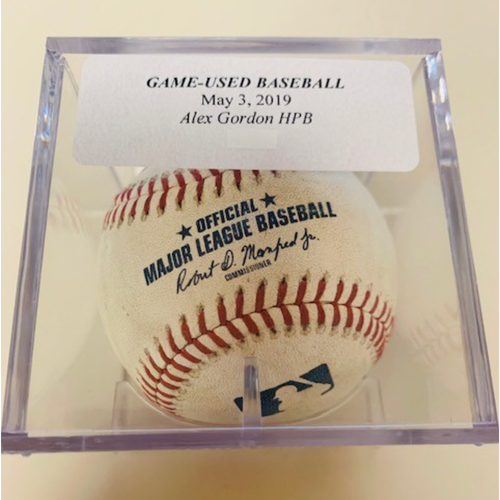 Photo of Game-Used Baseball: Alex Gordon Hit by Pitch