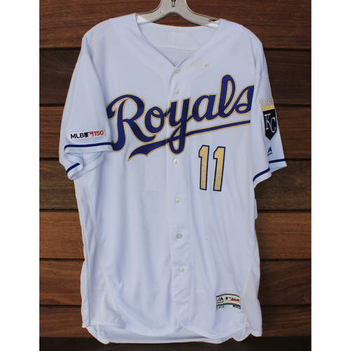 Photo of Game-Used Jersey: Bubba Starling 4th Career Double (Size 48 - BAL @ KC - 8/30/19)