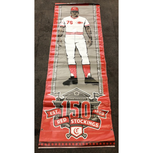 Photo of Reds 1976 Throwback Uniform Banner From Downtown Cincinnati & Great American Ball Park