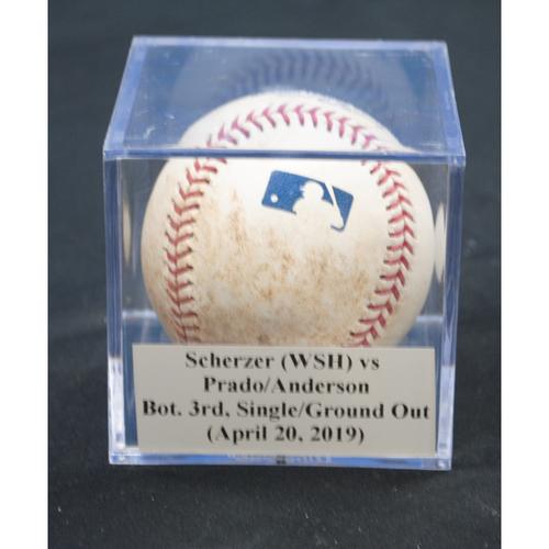 Photo of Game-Used Baseball: Max Scherzer (WSH) vs Martin Prado/Brian Anderson, Bot. 3rd, Single/Ground Out (April 20, 2019)