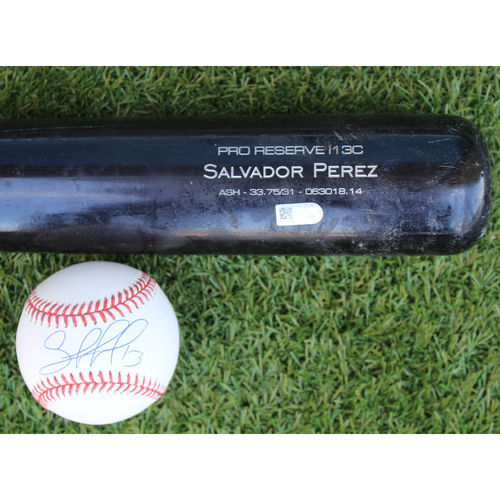 Photo of Autographed Baseball and Game-Used Broken Bat: Salvador Perez (MIN @ KC - 7/22/18)