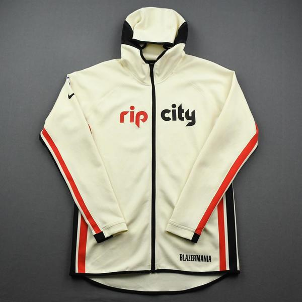 Image of Moses Brown - Portland Trail Blazers - Game-Issued Earned Edition Game Theater Jacket - 2019-20 NBA Season