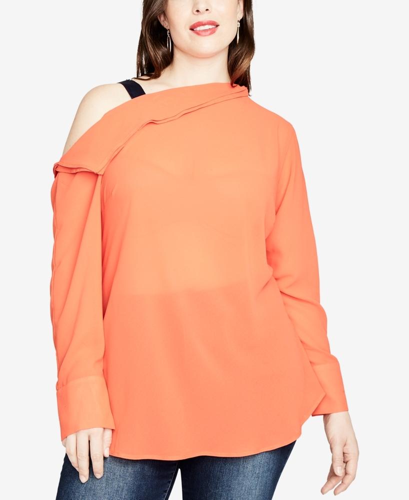 Photo of Rachel Rachel Roy Womens Plus Asymmetrical Blouse