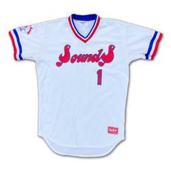 Photo of #53 Game Worn Throwback Jersey, Size 44, worn by Brice Turang & Ryan Weber.