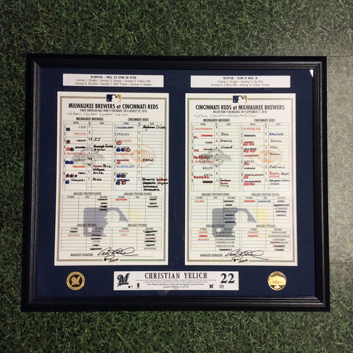 "Photo of Christian Yelich 2018 Commemorative ""Hit for Cycles"" Framed Piece with Replica Scans of Lineup Cards - Limited Edition #22 / 122"