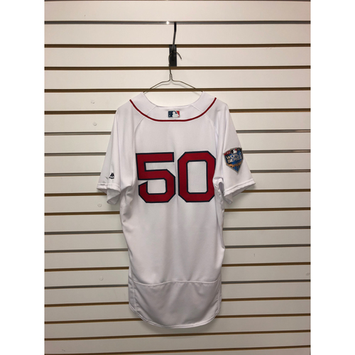 Photo of Mookie Betts Game-Used October 23, 2018 World Series Game 1 Home Jersey