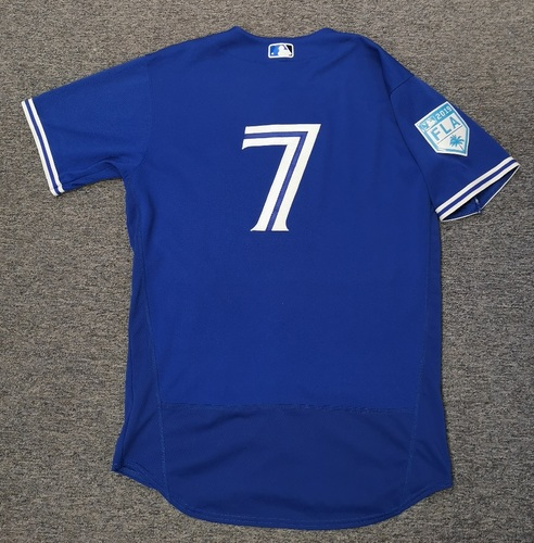 Photo of Authenticated Game Used 2019 Spring Training Jersey - #7 Richard Urena (Mar 17: 1-for-3 with 1 Walk. Mar 25: 1-for-1). Size 44