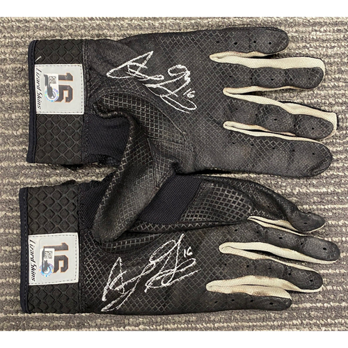 Photo of Autographed Batting Gloves Autographed by #16 Aramis Garcia