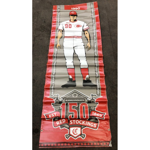 Reds 1990 Throwback Uniform Banner From Downtown Cincinnati & Great American Ball Park
