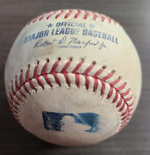 Photo of Authenticated Game Used Baseball: Foul by Jonathan Villar against Adam Ottavino (Sep 22, 2020 vs NYY). Bottom 9. Game played in Buffalo.