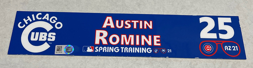 Photo of Austin Romine 2021 Spring Training Locker Nameplate