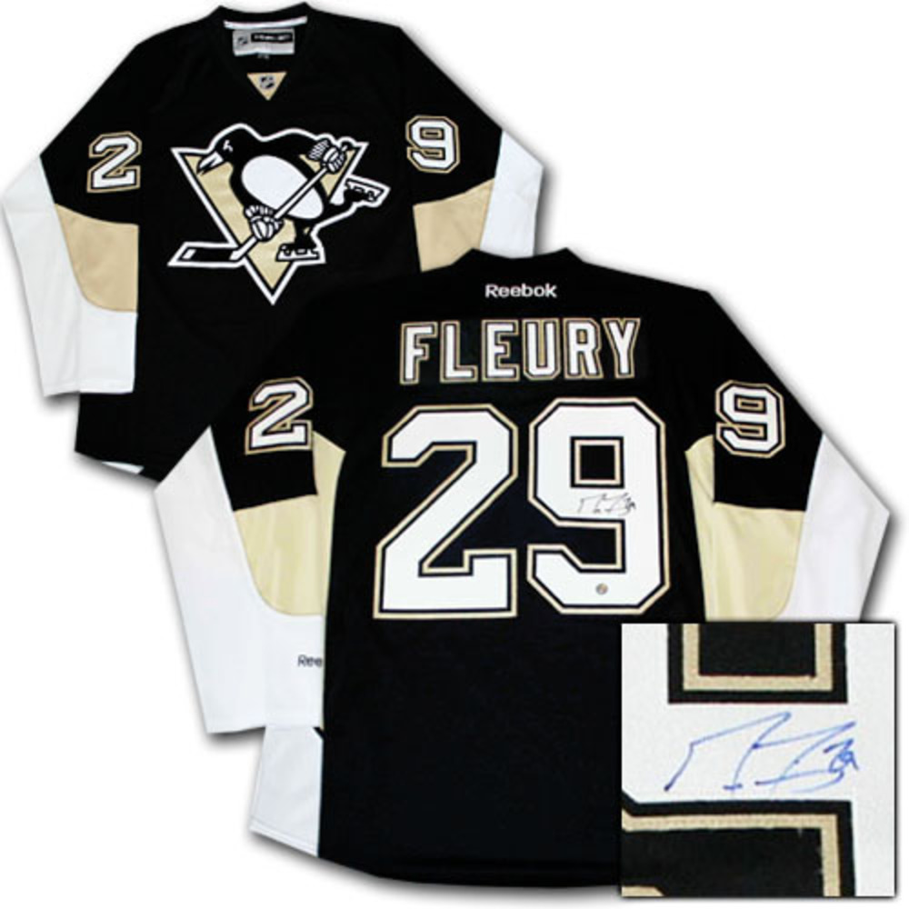 big sale 6f2dd f7401 Marc-Andre Fleury Autographed Pittsburgh Penguins Jersey ...