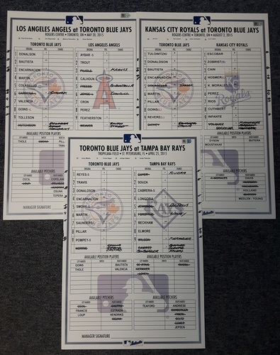 Photo of Authenticated Game Used Lineup Card - One Lineup Card from the 2015 Regular Season