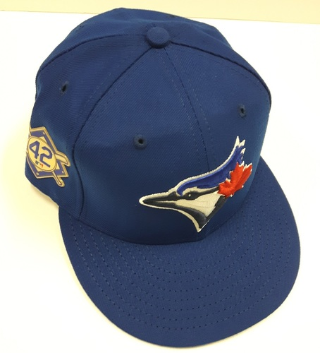 Photo of CHARITY AUCTION: Authenticated Game Used #42 Cap - Dane Johnson (May 3, 2018). Size 7 1/8