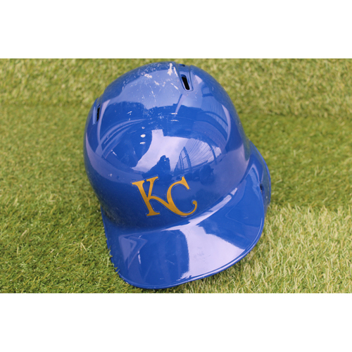 Photo of Game-Used Batting Helmet: Whit Merrifield 446th Career Hit (Size 7 1/2 - CLE @ KC - 9/28/18)