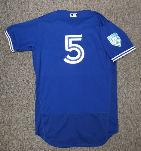 Photo of Authenticated Game Used Spring Training 2019 Jersey - # 5 Eric Sogard (Mar 26, 19: 1-for-2 with 1 RBI). Size 44