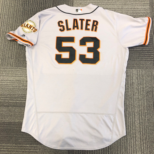 Photo of 2017 Game Used Road Jersey used by #53 Austin Slater on 6/8 @ Milwaukee Brewers - Hit his First Career HR & 6/20 @ Atlanta Braves - Hit a 3 Run Home Run - Size 48