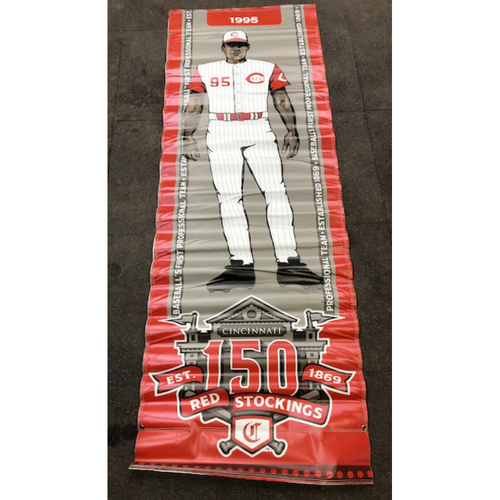 Photo of Reds 1995 Throwback Uniform Banner From Downtown Cincinnati & Great American Ball Park