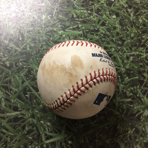 Photo of Game-Used Baseball PIT@MIL 09/21/19 - James Marvel - Lorenzo Cain: Double