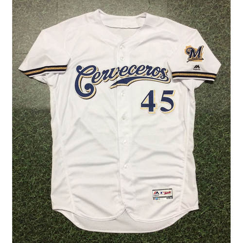 Photo of Jhoulys Chacin 2019 Team-Issued Cerveceros Jersey