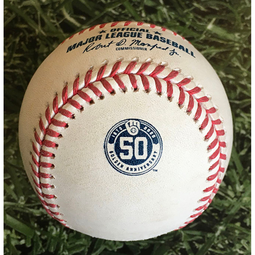 Photo of Game-Used Baseball - 2020 Milwaukee Brewers Home Game - Commemorative 50th Anniversary Logo