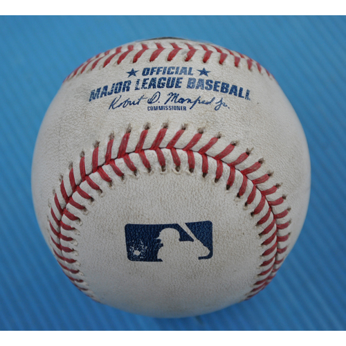 Photo of Game-Used Baseball - 2020 NLCS - Los Angeles Dodgers vs. Atlanta Braves - Game 3 - Pitcher: Julio Urias, Batters: Ronald Acuna Jr. (Walk), Freddie Freeman (Foul) - Bot 1