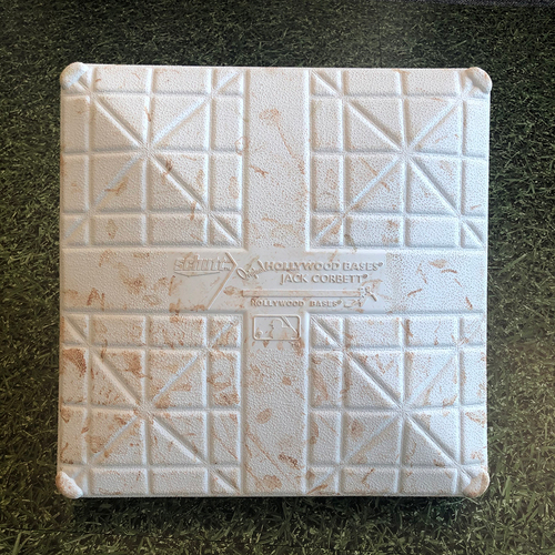 Photo of Game-Used 2020 Home Opener Base - 08/03/20 - CHW @ MIL - 3rd Base, Innings 7-9 - Jose Abreu & Yoan Moncada HRs
