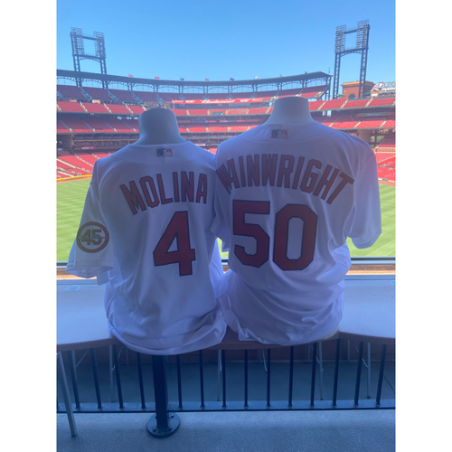 Photo of Cardinals Authentics: Game Worn Adam Wainwright and Yadier Molina Home White Jerseys from June 3rd, 2021 *4th All Time in MLB Starts as Battery Mates*