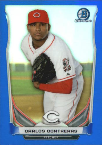 Photo of 2014 Bowman Chrome Prospects Series 2 Blue Refractors #BCP7 Carlos Contreras