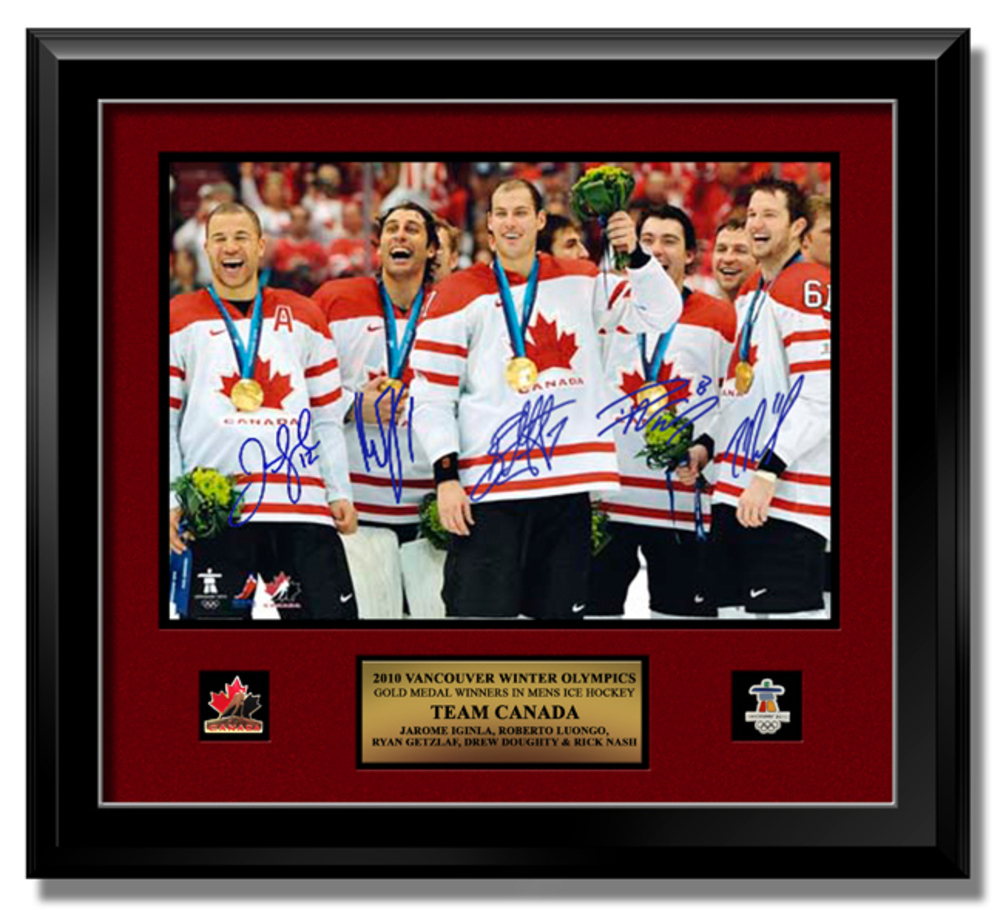 LMTD ED 2010 TEAM CANADA GOLD IGINLA, LUONGO, GETZLAF, DOUGHTY & NASH Multi-Signed 16 X 20 w/Plaque & Pins - Calgary Flames, Vancouver Canucks, Anaheim Ducks, Los Angeles Kings, Columbus Blue Jackets