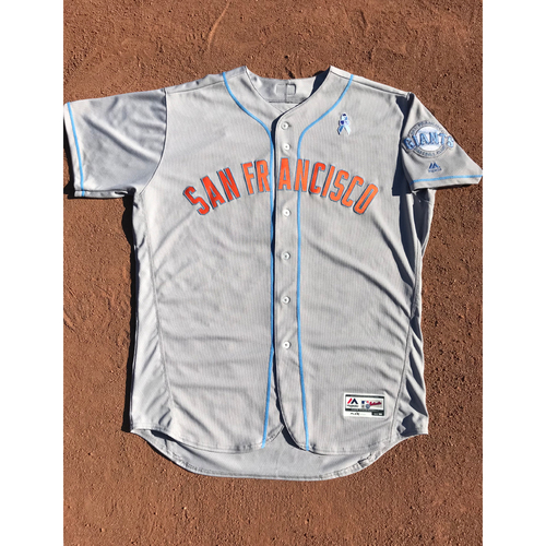 Photo of San Francisco Giants - 2017 Game-Used Jersey - #31 Hensley Meulens - Fathers Day Road Jersey  - Worn 6/17/17 & 6/18/17 - Jersey Size 50