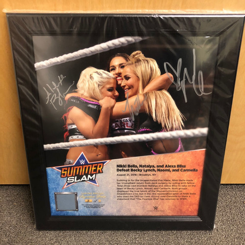 Photo of Alexa Bliss, Nikki Bella, & Natalya SIGNED SummerSlam 2016 Signature Series Ring Canvas Plaque (#3 of 5)