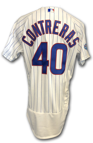 Photo of Willson Contreras Game-Used Jersey -- Rockies vs. Cubs -- 10/2/18 -- 2018 Postseason Wild Card