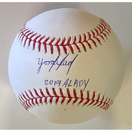 "Photo of Yordan Alvarez Autographed ""2019 AL ROY"" Baseball"