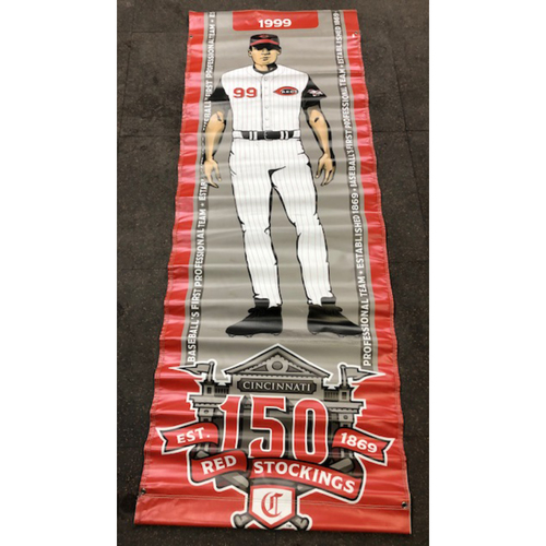 Photo of Reds 1999 Throwback Uniform Banner From Downtown Cincinnati & Great American Ball Park